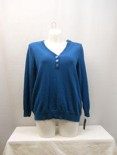Karen Scott Long Sleeves Button Y-Neck Medium Knit Henley Sweater Size 1X 3X   #KarenScott #Henley