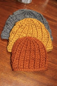 0-3 month baby texture hat pattern Materials: Worsted weight yarn Hook size J Blunt needle Abbreviations: fpdc- front post double crochet sc- single crochet dc- double crochet sl st- slip stitch 0-3M Baby Pattern: Make magic circle, ch 2. Row 1: dc 14 in circle, sl st to join (14). Row 2: Ch 2, fpdc … … Continue reading →