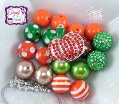 Pumpkin Fall DIY Necklace Kit Chunky Necklace Bubblegum beads