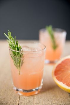 Rosemary Greyhound Cocktail: vodka and grapefruit juice with a rosemary infused simple syrup.