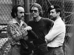 John Cazale, Christopher Walken and Robert De Niro on the set of The Deer Hunter.