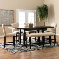 Find formal and casual dining room furniture sets from Jerome's Furniture! Choose from several table sizes, heights and materials. Whether you're curating a modern atmosphere or a stately dining environment, we have a dining table set for your home. Tall Dining Room Table, Dining Set With Bench, Casual Dining Rooms, Dining Room Furniture Sets, Dining Table In Kitchen, Home Furniture, Dining Area, Interior Room Decoration, Room Interior