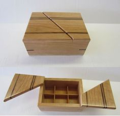 <p>Small cherry and walnut box with dividers.  The lid sections are hinged with brass pins at the corners.  Finish is semi-gloss lacqure.</p>