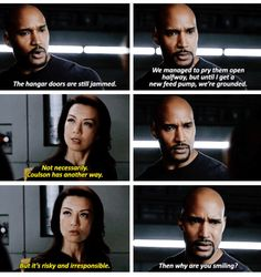 """Why are you smiling?"" - Melinda May and Mack #AgentsOfSHIELD"