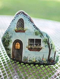 Hand Painted Blue Rock House. Beautifully detailed. Perfect for Fairy or Gnome Garden: