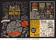 Pizza restaurant menu. Vector food flyer for bar and cafe. Design template with vintage hand-drawn illustrations on chalkboard.