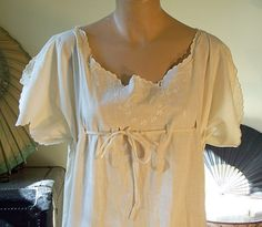 Embroidered Nightgown with Drawstring Bodice