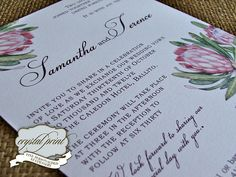 Love Africa Wedding Stationery from Crystal Print Wedding Stationery, Wedding Invitations, Invites, Protea Wedding, Vows, Save The Date, Wedding Inspiration, Wedding Ideas, Wedding Cards