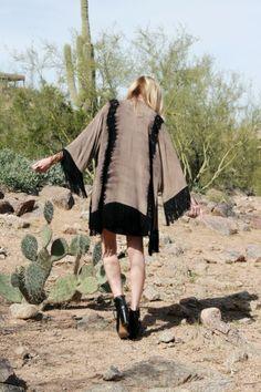 Fringe Kimono @Janet Davis Blue