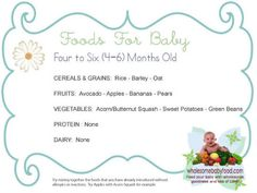 Starting Stella on her food....loves these charts:) 4-6 month baby food chart