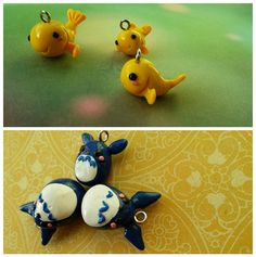 gold fish and totoro cute polymer clay charm by Kats13stuff