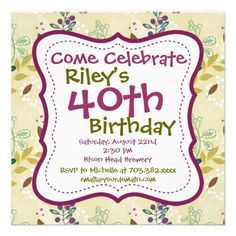 Purple Green Floral 40th Birthday Party Invitation