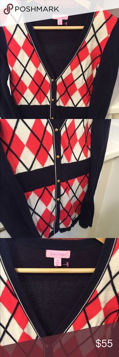Lily Pulitzer argyle cardigan 💕💕 Adorable navy and red cardigan with brass buttons. Lovely lightweight 💕💕 Lilly Pulitzer Sweaters Cardigans