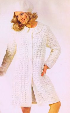 Vintage e Pattern PDF Crocheted Coat 1970's Bust Size 33~45 Inches Instant PDF Instant Download