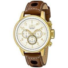 Pánské hodinky Invicta 16011 Brown Leather Strap Watch 41aa8e0357