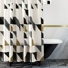 triangle shower curtain in view all new | CB2
