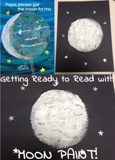 Eric Carle's PAPA, PLEASE GET THE MOON FOR ME is perfect for practicing reading and talking with your child. Try this simple moon paint activity to expand their background knowledge and narrative skills, too!