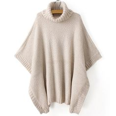 Cheap Pullovers, Buy Directly from China Suppliers:Korean Style new autumn and winter women Beige Cowlneck poncho high neck Bat sleeve Sweaters Turtleneck Women Clothings& Loose Sweater, Poncho Sweater, Pullover Sweaters, Knitted Poncho, Pullover Mode, Batwing Sleeve, Vintage Sweaters, Mode Inspiration, Sweater Fashion