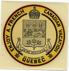 Enjoy A French Canadian Vacation Decal - 1955