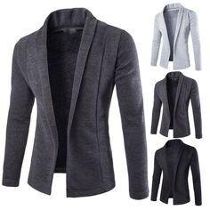 $11.99 - Mens Fashion Knitted Cardigan Jacket Slim Long Sleeve Casual Sweater Trench Coat #ebay #Fashion