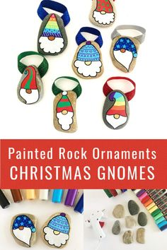Christmas Gnome Painted Rock Ornaments