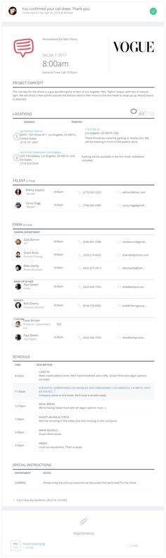 call sheets - Google Search Call sheets Pinterest Movie - sample call sheet