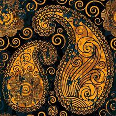Oriental Persian Paisley, Swirls - Blue Orange Art Print by Sitnica | Society6