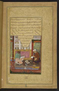 Mughal miniatuur uit de British Library, Or.12208, fol. 325v. Colophon van een boek uit de reeks 'Khamsa' (Five poems) door de dichter Nizami, gemaakt voor keizer Akbar. De miniatuur laat de schrijver Abd al-Rahim 'Anbarinqalam ('Sweet-pen') en de schilder Daulat zien. Gekopieerd door Anbarinqalam in 1595-96.