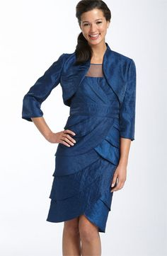 Adrianna Papell Illusion Bodice Tiered Satin Dress & Bolero available at #Nordstrom Tiered Dress, Adrianna Papell, Satin Dresses, Hard Work, Sheath Dress, Illusion, Collars, Bodice, Cold Shoulder Dress