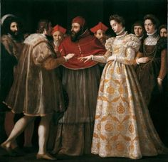 Jacopo da Empoli (Italian,1551-1640) ~ Matrimonio di Caterina de' Medici con Enrico II di Francia ~ 1600 ~Galleria degli Uffizi, Firenze ~ Jacopo da Empoli was an Italian Florentine Reformist painter. Born in Florence as Jacopo Chimenti, he worked mostly in his native city. He apprenticed under Maso da San Friano. Baroque Period