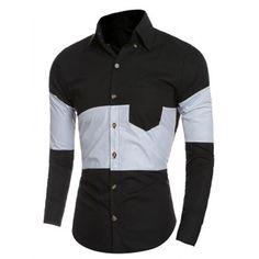 Slim-Fit Buton-Up Color Block Shirt - BLACK L