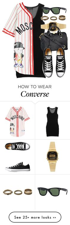 """""""Style #9102"""" by vany-alvarado on Polyvore featuring rag & bone, Moschino, Casio, Louis Vuitton, Converse, Ray-Ban and Forever 21"""