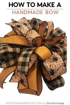 This quick tutorial will show you how to make a handmade bow for wreaths. Included is a step by step video on how to make a handmade wreath bow. Diy Bow, Diy Ribbon, Ribbon Crafts, Wreath Crafts, Diy Wreath, Wreath Making, Making Bows For Wreaths, Ribbon Flower, Fabric Flowers