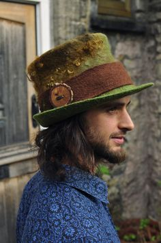 Felt Magic Hat - 'Woodland' - Green brown olive gold - hand felted dyed wool nuno curls - men women unisex - handmade ARtWeAR READY to SHIP