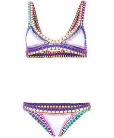 This white and multi-coloured Kiini crochet-trimmed bikini is a bohemian-inspired piece from the stunning Spring/Summer 2016 collection. It has been expertly crafted from figure-sculpting neoprene, boosted by the striking multi-coloured woven edges. Free from fastenings, the piece slips on easily for a smooth and comfortable fit.