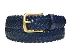 796-NAVY Toneka Men's Woven Braided Leather Belt #blue #royalblue #abysse #marine #nautical #dressbelt #brass #buckle #derby #oxford #men #fashion #preppy #elegant
