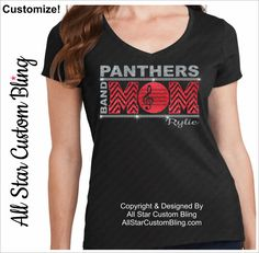 Band Mom Chevron Bling Shirt, Custom Band Mom Shirt                                                                                                                                                                                 More