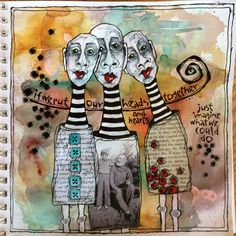 Deb Weiers - Our Heads and Hearts Art Prompts, Expressive Art, Human Art, Art Journal Inspiration, Art Journal Pages, Art Sketchbook, Face Art, Altered Art, Collage Art