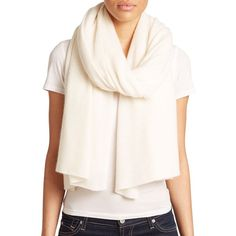 White + Warren Women's Cashmere Travel Wrap ($298) ❤ liked on Polyvore featuring accessories, scarves, pearl white, cashmere scarves, cashmere wrap shawl, wrap scarves, holiday scarves and evening wrap shawl