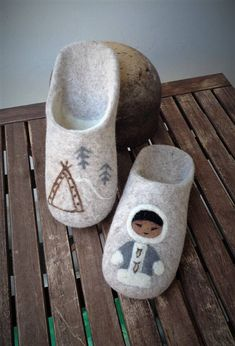 FELTED SLIPPERS felted home shoes cozy slippers natural wool, ready to ship, MADE TO ORDER  The designer shoes were inspired by the wonderful fairy tales from the far east. These beige felted wool slippers are warm and cozy, you will love them. Perfect gift for your loved ones (gift for mom,