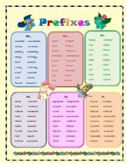 English worksheet: The most common prefixes