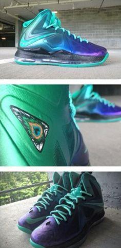 "THE SNEAKER ADDICT: Nike lebron 10 ""Peacocks"" X Mache Custom Sneaker (Detailed Images)"
