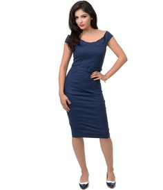 Collectif 1940s Style Navy Blue Nautical Eloise Pencil Dress