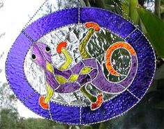 """Tropical Gecko Stained Glass Suncatcher - 11"""" x 14"""" $59.95  - Handcrafted Stained Glass Designs  * More at www.AccentOnGlass.com"""