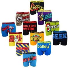 6 & 12 Packs Men's Designer Novelty Rude Ballsy Boxers Trunks Funny Underwears #BallsybyKangol #FunnyNoveltyRudeBoxer