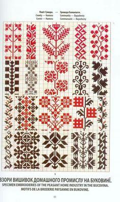 Ukrainian and Romanian embroidery of Bukovyna-Bucovina Cross Stitch Borders, Cross Stitch Charts, Cross Stitch Designs, Cross Stitching, Cross Stitch Patterns, Seed Bead Patterns, Beading Patterns, Embroidery Motifs, Cross Stitch Embroidery