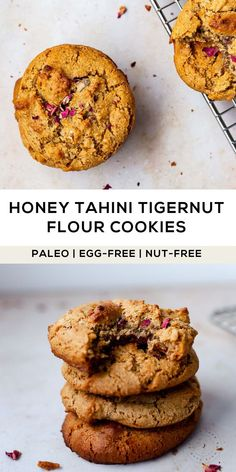 Paleo Tigernut flour cookies made with smooth tahini and honey make a delicious nut-free and egg-free treat in less than 15 mins! Nut Recipes, Flour Recipes, Gluten Free Recipes, Dessert Recipes, Paleo Dessert, Baking Recipes, Cookie Recipes, No Flour Cookies, Paleo Cookies