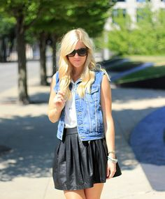 Denim Vest #leatherskirt #fashion #blogger