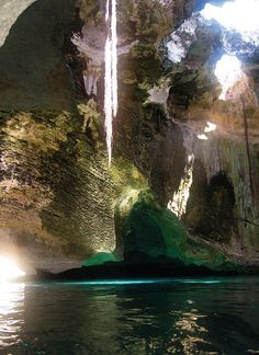 Thunderball Grotto, Staniel Cay , Exuma, Bahamas. It has been featured in several Hollywood films, such as Ron Howard's 'Splash', two James Bond movies, 'Thunderball' and 'Never Say Never Again' and also in 'Into the Blue', which starred Jessica Alba