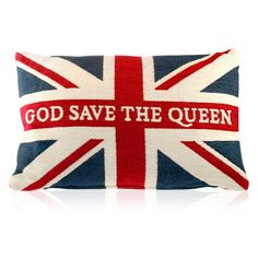 God Save the Queen cushion from the Royal Collection Shop at Buckingham Palace, London